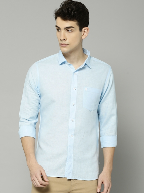 French Connection Men Blue Regular Fit Solid Casual Shirt