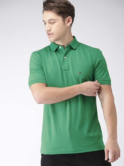 Tommy Hilfiger Men Green Solid Polo T-shirt