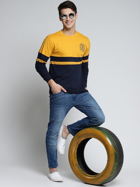 Difference of Opinion Men Mustard-Coloured & Navy Blue Colourblocked Round...
