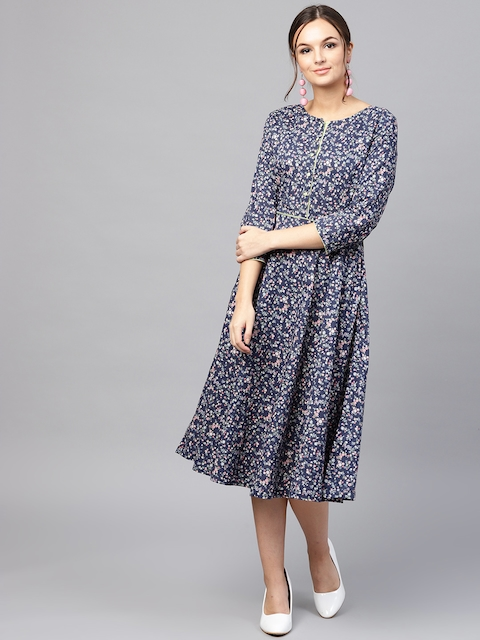 SASSAFRAS Women Navy Blue & Pink Printed Fit and Flare Dress