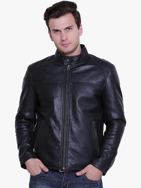 Justanned Men Black Solid Leather Jacket