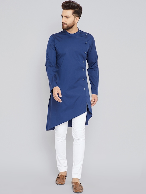See Designs Men Blue Solid Straight Kurta