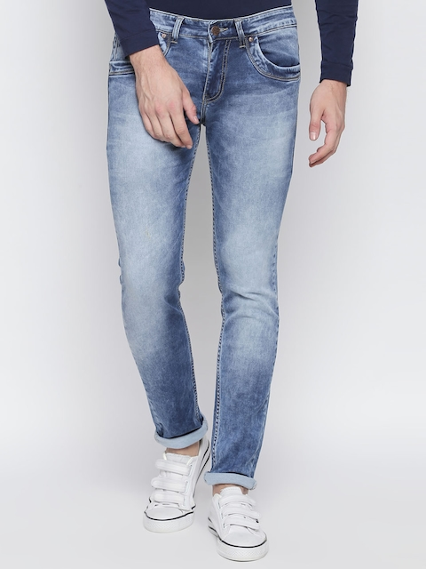 BOLTS and BARRELS Men Blue Slim Fit Low-Rise Clean Look Stretchable Jeans