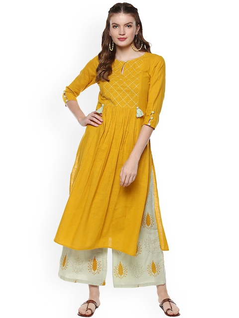 Idalia Women Mustard Yellow Solid Kurta with Palazzos