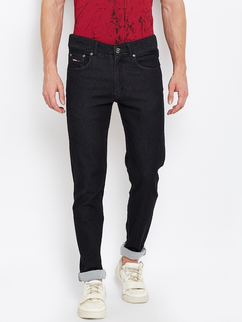 PERF Men Black Regular Fit Mid-Rise Clean Look Stretchable Jeans