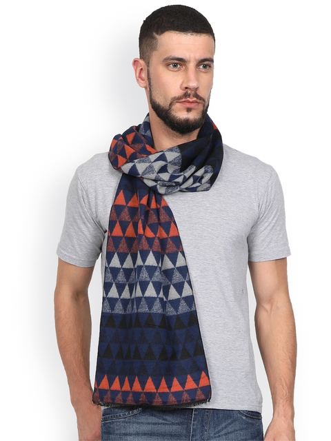 FabSeasons Men Navy Blue & Orange Printed Woollen Muffler
