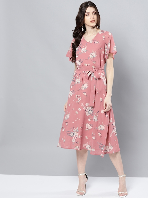 Harpa Women Pink Printed A-Line Dress