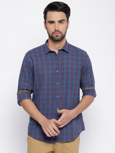 Linen Club CAVALLO Men Navy Blue & Red Regular Fit Checked Casual Shirt