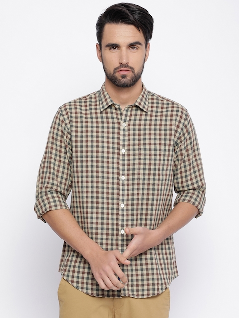 Linen Club CAVALLO Men Brown & Grey Regular Fit Checked Casual Shirt