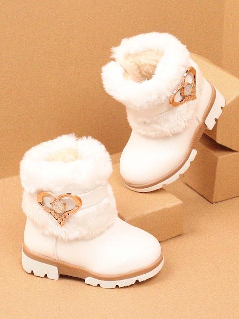 Walktrendy Girls White Solid Heeled Boots