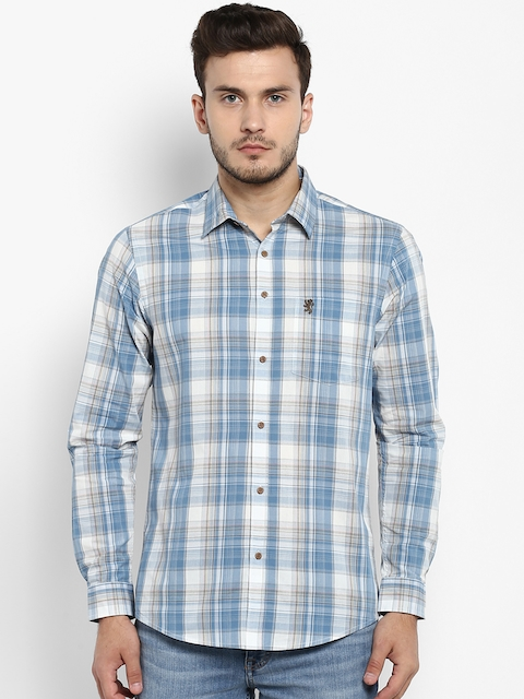 Red Tape Men Blue & White Regular Fit Checked Casual Shirt