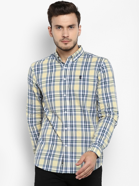 Red Tape Men Yellow & Blue Regular Fit Checked Casual Shirt