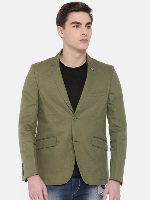 The Indian Garage Co Men Olive Green Solid Single-Breasted Casual Blazer