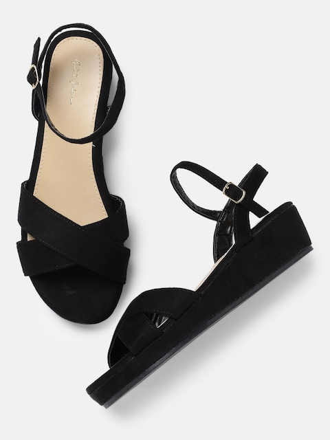 Mast & Harbour Women Black Solid Wedge Sandals
