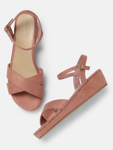 Mast & Harbour Women Pink Solid Wedge Sandals