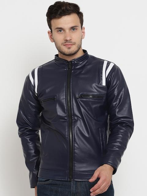 Teesort Men Navy Blue Solid Biker Jacket