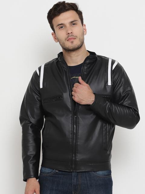 Teesort Men Black Solid Biker Jacket