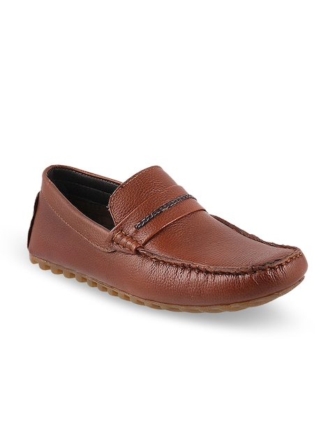 Metro Men Tan Brown Leather Loafers