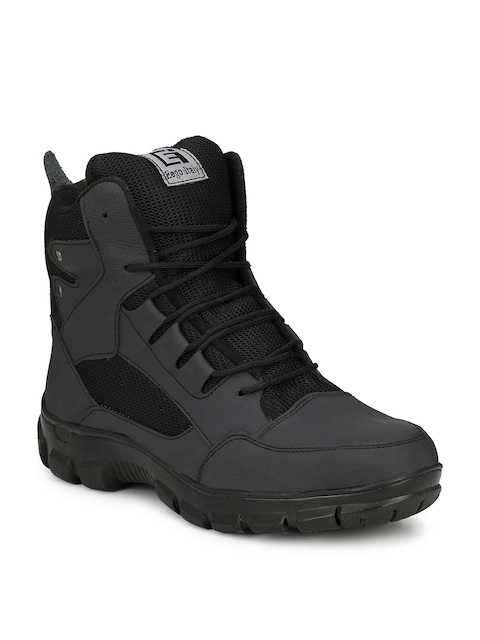 Eego Italy Men Black Leather High-Top Trekking Shoes 1