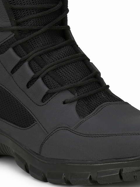 Eego Italy Men Black Leather High-Top Trekking Shoes 5