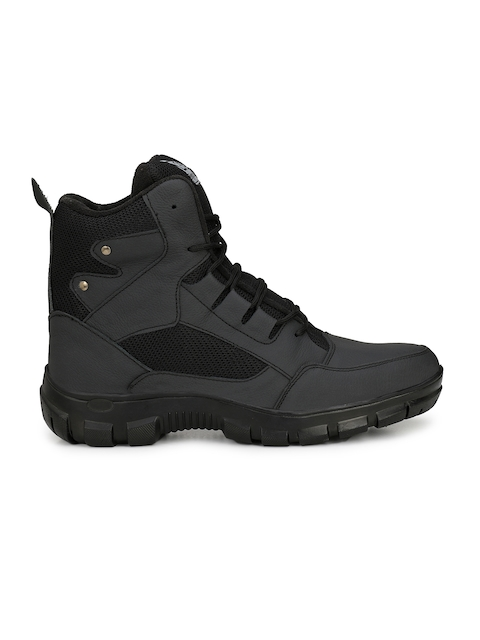 Eego Italy Men Black Leather High-Top Trekking Shoes 3