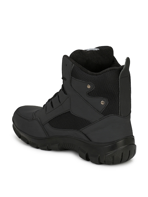 Eego Italy Men Black Leather High-Top Trekking Shoes 2