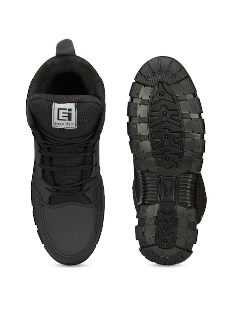 Eego Italy Men Black Leather High-Top Trekking Shoes 4