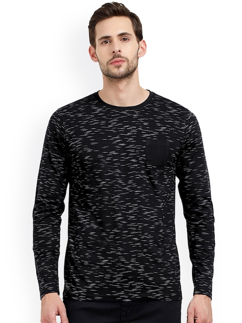 Maniac Men Black Printed Round Neck T-shirt