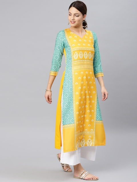 Vaamsi Yellow Printed Straight Kurta