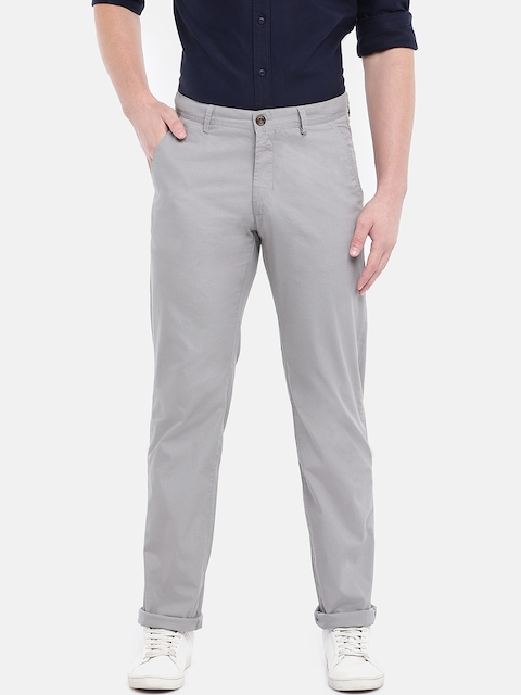 Cottonworld Men Grey Slim Fit Solid Chinos