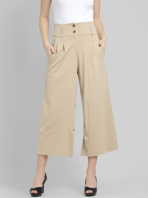 Leo Sansini Women Beige Relaxed Flared Solid Easy Wash Culottes