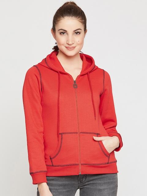 RARE Women Red Solid Hooded Sweatshirt