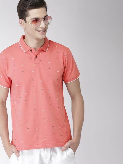 Mast & Harbour Men Peach-Coloured Printed Polo Collar T-shirt