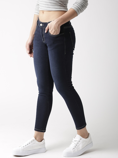 Mast & Harbour Women Navy Blue Skinny Fit Mid-Rise Clean Look Cropped Stretchable Jeans 2