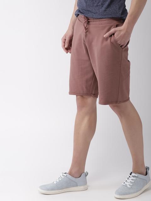 Mast & Harbour Men Mauve Solid Regular Fit Regular Shorts
