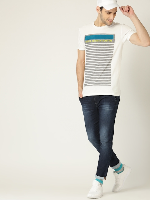 United Colors of Benetton Men White & Grey Striped Round Neck T-shirt