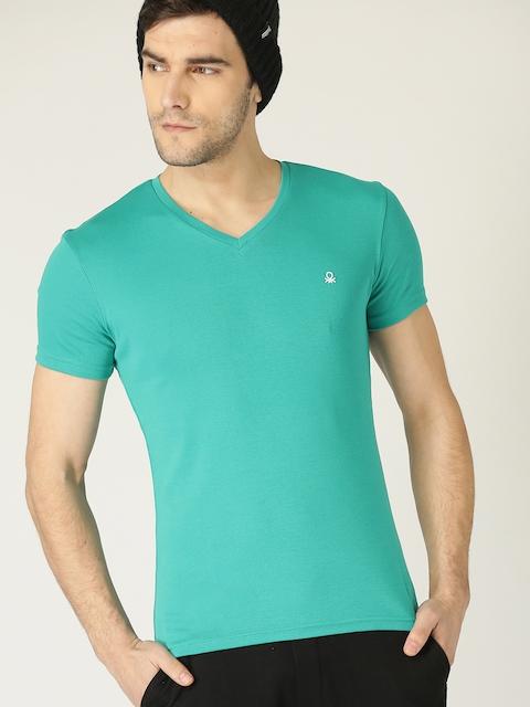 United Colors of Benetton Men Turquoise Blue Solid V-Neck T-shirt