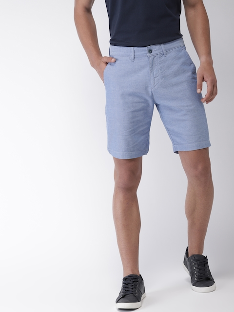 Mast & Harbour Men Blue Solid Regular Fit Shorts