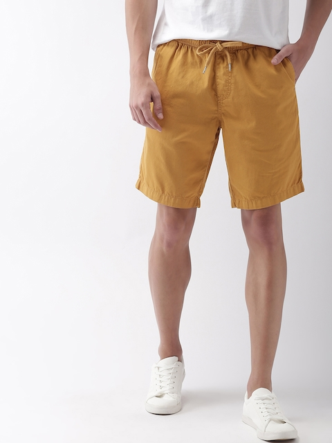 Mast & Harbour Men Yellow Solid Regular Fit Chino Shorts