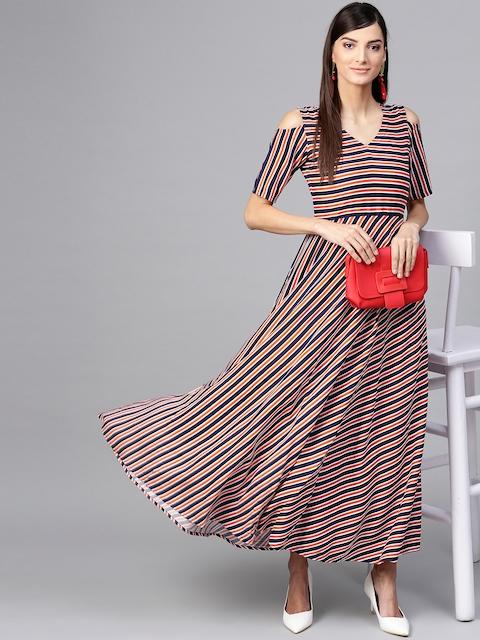 GERUA Women Navy Blue & Rust Orange Striped Maxi Dress