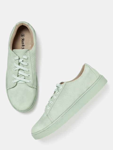 Mast & Harbour Women Mint Green Textured Sneakers