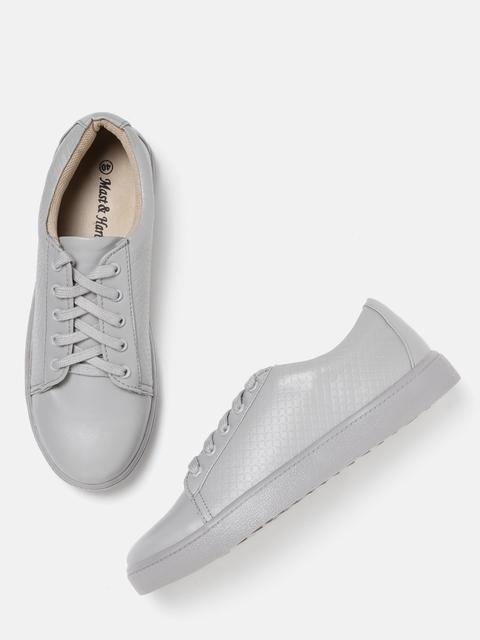 Mast & Harbour Women Grey Textured Sneakers
