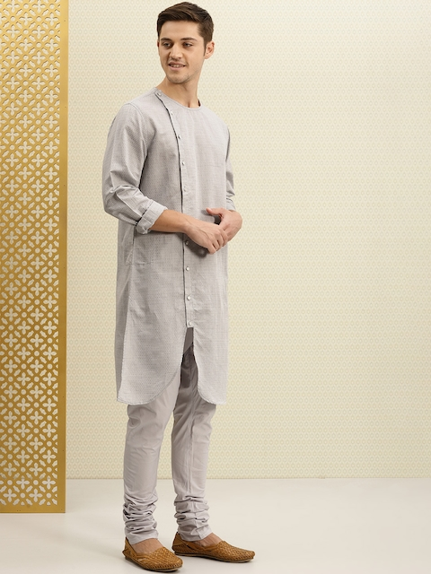 House of Pataudi Men Grey Self Design Kurta with Churidar