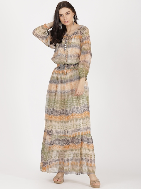 Label Ritu Kumar Women Beige Printed Maxi Dress