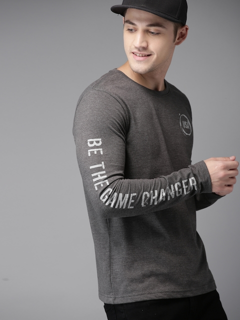 HERE&NOW Men Charcoal Grey Solid Round Neck T-shirt