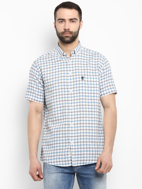 Red Tape Men Off-White & Sea Green Regular Fit Checked Casual Shirt