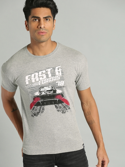 Roadster Men Grey Printed Round Neck T-shirt