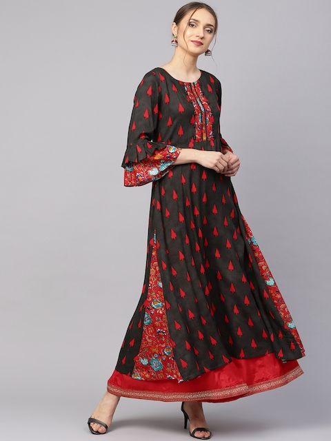 Ives Women Black & Red Printed A-Line Kurta