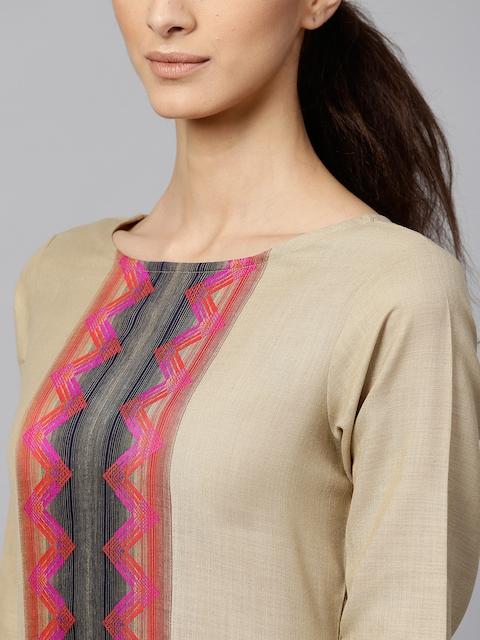 Indo Era Muted Hazelnut Geometric Yoke Kurta Set 2