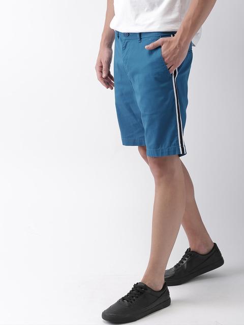 Mast & Harbour Men Blue Solid Regular Fit Chino Shorts